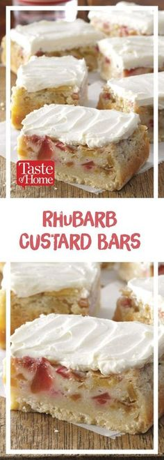 Rhubarb Custard Bars * Use lactose-free and gluten-free products to keep this recipe low FODMAP! Köstliche Desserts, Delicious Desserts, Rhubarb Desserts Easy, Rhubarb Cookies, Rhubarb Cake, Rhubarb Keto, Rhubarb Loaf, Rhubarb Dishes, Rhubarb Ideas