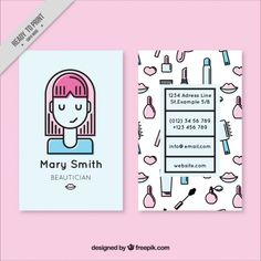 Nice girl and sketches elements beautician card Free Vector Self Branding, Personal Branding, Name Card Design, Graphisches Design, Corporate Design, Grafik Design, Stationery Design, Name Cards, Graphic Design Typography