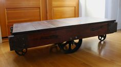 Vintage Warehouse Cart Coffee Table - Torched Douglas Fir. $1,100.00, via Etsy.