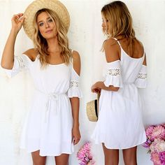 Women's Summer Fashion Sweet Casual Lace White Off-shoulder Loose Strap Mini Dress