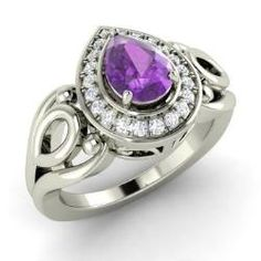 Rings - Seana - Amethyst Ring in 14k White Gold with SI Diamond (0.71 ct.tw.)