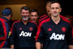 Keane walks out of the tunnel with his former United team-mates Gary Neville and Wes Brown on Tuesday afternoon Manchester United Legends, Manchester United Football, Wes Brown, Roy Keane, Kareem Abdul Jabbar, Tuesday Afternoon, Walks, The Unit, Sports
