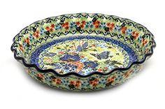 Polish Pottery Baker  PieQuiche  Fluted  Unikat Signature U4600 -- Click image to review more details.