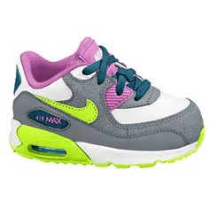 check out f3d90 45214 Nike Air Max 90 2007 - Girls  Toddler - White Green Abyss Cool girls nike  air max trainers kids ...
