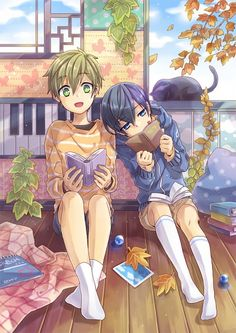 Free! ~~~ Getting lost in a good book :: Tachibana Makoto, Nanase Haruka