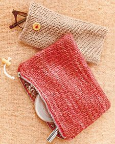 """Eyeglass Case. Using U.S. size 6 needles and lightweight yarn, cast on 22 stitches. Stockinette stitch for 25 inches.  Bind-off. (Rectangle should be 4"""" x 25"""".)  Fold in half, right sides facing; sew sides together with yarn needle. Turn right side out; steam- iron flat. Sew snap inside; add button."""