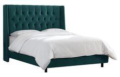 Alex Tufted Wingback Bed, Peacock Velvet