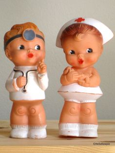 Vintage Rubber Doctor and Nurse Dolls Set by HelloKewpie on Etsy, $68.00
