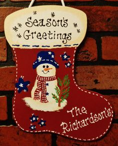 Seasons Greetings personalized Wooden Christmas sign, decoration, ornament, door hanger by warmcorneroftheweb on Etsy