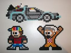Set of 3 Back to the Future perler bead sprites by ElisBeadSprites