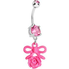 Pink Gem Feminine Bow and Rose Belly Ring #bodycandy #flower #bellyring #rose #bow #cute #pink #piercing $9.99