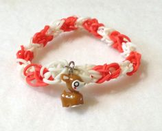 Little Reindeer Rainbow Loom Bracelet in Red and Glow in the Dark Bands