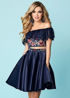 Two-piece A-line style with off the shoulder and lace overlay gives to the colorful embroidered cropped bodice a touch sure to make you the center of the event. Matching appliques on waist of the ethereally constructed A-line satin skirt with side Pockets School Dresses, Hoco Dresses, Pageant Dresses, Homecoming Dresses, Summer Dresses, Formal Dresses, Pretty Outfits, Pretty Dresses, Two Piece Short Dress