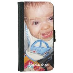 Customize it: Your photo  and text iPhone 6 Wallet Case by #PLdesign #YourPhoto #PhotoGift #iPhone6