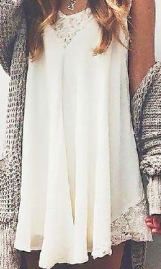 Split Away Lace Dress - White