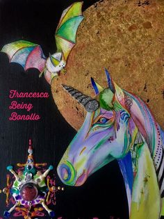 Unicorn, collage with gold leaves and watercolors