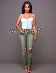 Chic Couture Online - Rachana Olive Green Faded Denim Ripped Knees Jeans.(http://www.chiccoutureonline.com/rachana-olive-green-faded-denim-ripped-knees-jeans/)