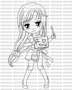 Digital Stamp-Love Notes, Digi Stamp, Coloring page, Printable Line art for Card and Craft Supply