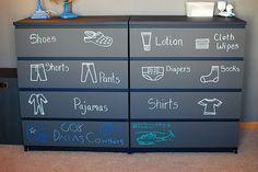 DIY chalkboard labeled dresser