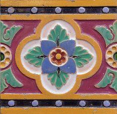 Mintons Antique Victorian Majolica Ceramic Tile
