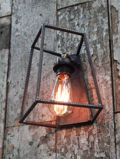 Industrial wall light with reinforced steel bar