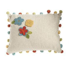 Wilko Pom Pom Cushion Floral 30X40cm at wilko.com