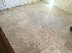 Tuscany Beige Pattern Honed-Unfilled-Chipped Travertine Floor User submitted photo from Home Depot Foyer Flooring, Porch Flooring, Farmhouse Flooring, Kitchen Flooring, Travertine Floors, Kitchen Tiles Design, Brick Patios, Diy Patio, Interior Design Living Room