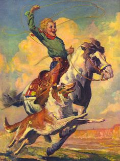 Art by Karl Godwin. Vintage Cowgirl, Vintage Horse, Vintage Art, Westerns, Cowboy Art, Le Far West, Equine Art, Western Art, Horse Art