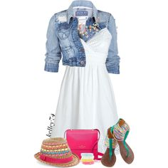 Bright Pink Bag + Denim Jacket by kelley74 on Polyvore featuring Soul Cal, Kate Spade and BCBGMAXAZRIA