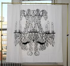 """This whimsical shower curtain features a brushtroke chandelier sketch on soft unbleached poly/cotton canvas. Water & Mold Resistant. Buttonhole eyelettes. Packaged in an 8"""" x 10"""" printed sham. 72"""" x 7"""