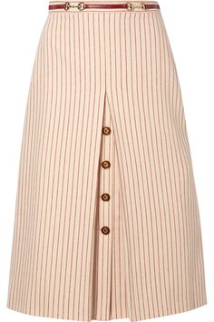 Gucci | Leather-trimmed paneled pinstriped wool midi skirt | NET-A-PORTER.COM Skirt Outfits, Dress Skirt, Midi Skirt, Long Skirt Fashion, Women's Fashion Dresses, Gucci Shoulder Bag, Fashion 101, Winter Dresses, How To Wear