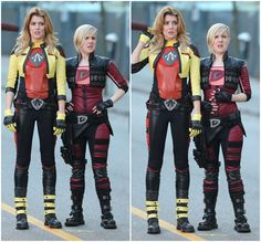 Grace Helbig and Hannah Hart filming an epic-looking Electra Woman and Dyna Girl remake for the web!
