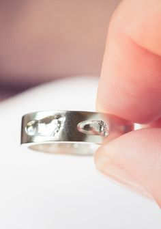 Beautiful #ring for #mom with her children's actual #footprints