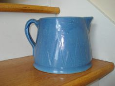 Ruckels Pottery White Hall Illinois Stoneware blue Sawtooth milk pitcher
