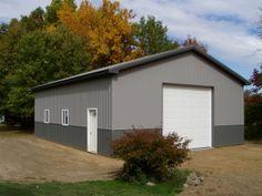30 x 40 x 12 Steel Barn - Standard Barn Construction Michigan - Burly Oak Builders Pole Barn Garage, Garage Doors, 30x40 Pole Barn, Pole Barns Direct, Steel Barns, Barns Sheds, Michigan, Outdoor Structures, Construction