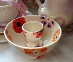Emma Bridgewater Flower Power Egg Cup and French Bowl