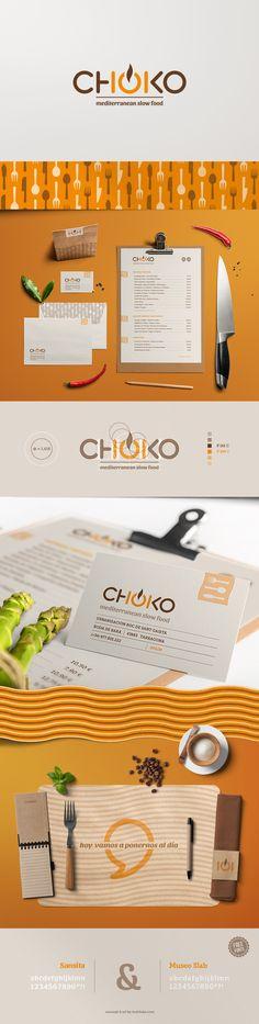 CHOKO, Restaurante de cocina Mediterránea. 2013. Imagen Corporativa. #branding #identity #restaurant #mediterranean #mockup