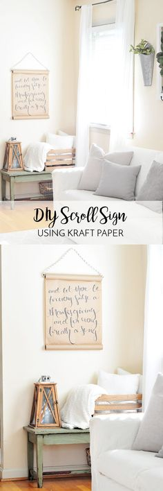 DIY Kraft Paper Wall Art | We've been loving the wall scrolls popping up in our news feeds, and here's how we made our own! This is a simple tutorial using supplies you probably already have on hand!
