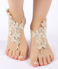 Free ship champagne Barefoot Sandals french by ByMiracleBridal