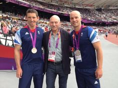 Patrick Stewart with British silver medalists David Florence and Richard Hounslow