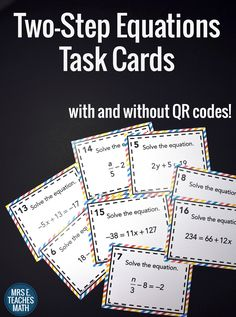 Two-Step Equations Task Cards with and without QR codes