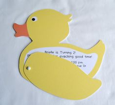 Duck Invitation Rubber Ducky Party Yellow by GoinChicBoutique
