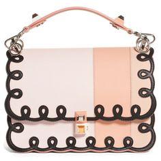 Women's Fendi Kan I Scalloped Stripe Leather Shoulder Bag ($3,850) ❤ liked on Polyvore featuring bags, handbags, shoulder bags, purses, fendi, plaster pink, leather man bags, shoulder handbags, pink purse and pink shoulder bag