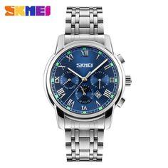 SKMEI Quartz Wristwatches Men Metal Mesh Stainless Steel Waterproof Watch Moon Phase Complete Calendar Business Watches 9121