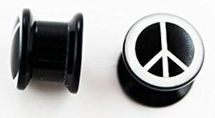 Peace Sign Ear Plug (4g) - Black and White - Screw Fit Tunnel Flesh Plug Body...  http://electmejewellery.com/jewelry/loose-gemstones/peace-sign-ear-plug-4g-black-and-white-screw-fit-tunnel-flesh-plug-body-ca/