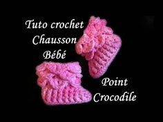 TUTO CROCHET CHAUSSON POINT CROCODILE AU CROCHET STITCH BOOTIES - YouTube