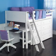 low loft bed with storage. Maximizing floor space in a kids room without making it too high off the ground. Awesome Bedrooms, Cool Rooms, Kid Beds, Bunk Beds, Loft Beds Kids, Loft Beds For Small Rooms, Kids Beds With Storage, Small Bedroom Ideas For Girls, Full Size Storage Bed