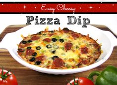 Easy Cheesy Pizza Dip! This is a great dip! You can add whatever pizza toppings you like!