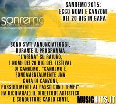 Usciti i nomi dei 20 big del +Festival di Sanremo 2015!