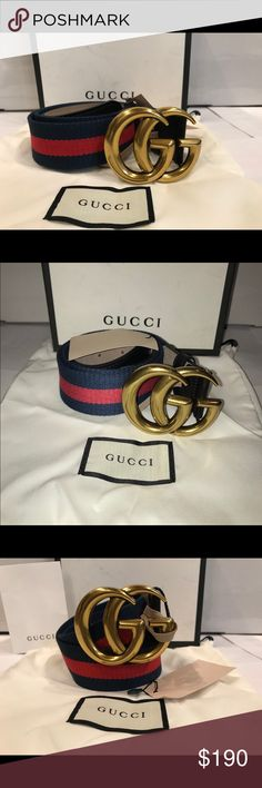 🔥New Gucci Signature Blue Red Blue Belt!!!🔥 Brand New With Tags Authentic Blue Red Blue Gucci Signature Belt!!!!  GG Gold Buckle!!!  Comes With Tags, Dust Bag and Gucci Box  Ships 1-2 Business days fast shipper Gucci Accessories Belts